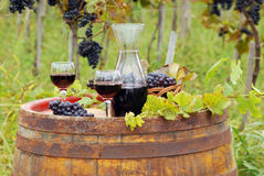 Glasses and bottle with red wine Royalty Free Stock Images