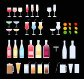 Glasses, bottles. Wine, water, juice, coke, beer glasses, wine bottles. Lime, lemon and orange slices and half slices. Cocktail umbrellas in 3 color executions ( vector illustration
