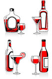 Glasses and bottles. Set of bottles and glasses with beverages Stock Photo