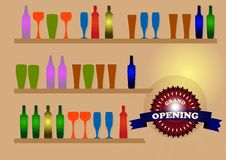 Glasses and bottles. On boards on the wall in bar Stock Photography