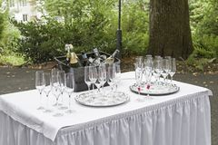 Glasses and bottles at the champagne reception. Glass jars and frozen sparkling wine and champagne bottles waiting for the arrival of the newlyweds Royalty Free Stock Images