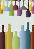 Glasses and bottles Royalty Free Stock Photography