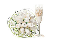 Glasses and bouquet Royalty Free Stock Photo