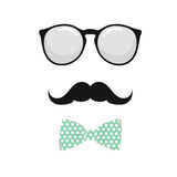 Glasses , Bowtie and Mustache man Set. Vector illustration. On white background Stock Images