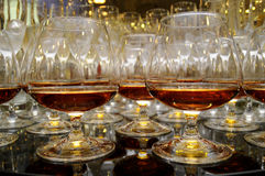 Glasses of brandy at the banquet Stock Photography