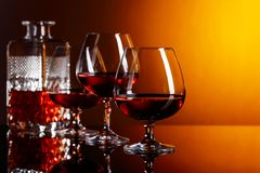 Glasses of brandy . stock photos