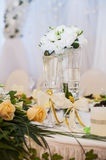 Glasses bride and groom at the wedding Royalty Free Stock Photos