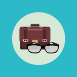 Glasses and business briefcase flat design Stock Photos