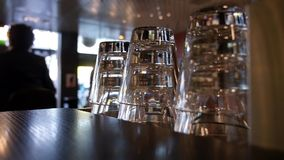 Glasses at cafe in zurich stock video footage