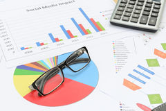 Glasses and Calculator put on paper chart. Stock Photos