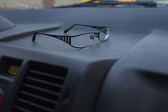 Glasses in the car Stock Photos
