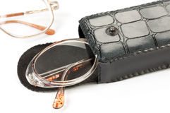 Glasses in a case. On a white background Royalty Free Stock Image