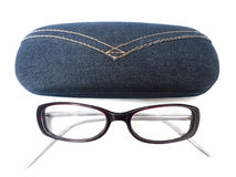 Glasses with case. On a white background Royalty Free Stock Photo