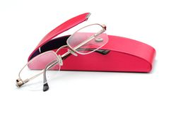 Glasses and case stock photography