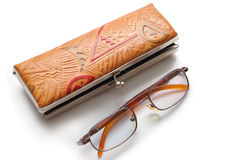 Glasses and case Stock Photos