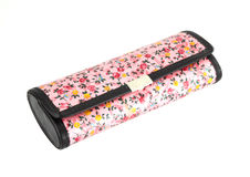 Glasses case with flower texture on white Stock Photos