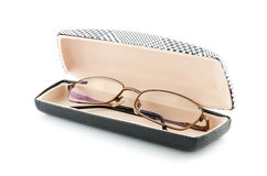 Glasses in the case isolated on white Stock Photos