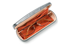 Glasses in case. Glasses in an open case on white background Royalty Free Stock Photos