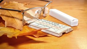 Glasses with chalk and ruler Royalty Free Stock Images
