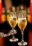 Glasses with champagne. Standing on the bar Royalty Free Stock Image