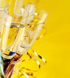 Glasses with champagne. A New Year's background Stock Photos