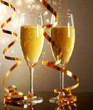 Glasses of champagne. On dark background royalty free stock photo