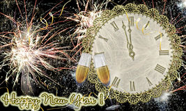 Glasses with champagne against fireworks and hours. Glasses with champagne against fireworks and clock close to midnight Royalty Free Stock Images