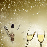 Glasses of champagne against holiday lights Stock Image
