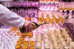 Glasses with champagne alcohol cocktail banquet royalty free stock photos