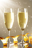 Glasses of champagne. Background of lights royalty free stock photography