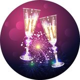 Glasses with champagne on the background of salute Royalty Free Stock Photos