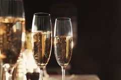 Glasses of champagne in bar royalty free stock image