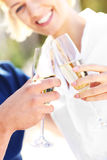 Glasses of champagne at the beach Stock Image