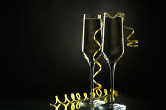 Glasses of champagne on a black Stock Photo