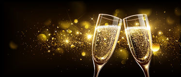 Glasses of champagne with bokeh effect. Glasses of champagne on bright background with bokeh effect. Vector illustration Stock Images