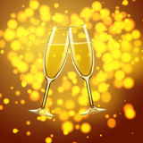 Glasses Of Champagne On Bokeh Heart Background Stock Photos