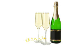 Glasses of champagne with bottle on a white Royalty Free Stock Photo