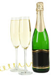 Glasses of champagne with bottle on a white background Stock Photography