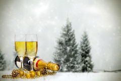Glasses with champagne and bottle Royalty Free Stock Image
