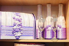 Glasses of champagne and a box for money on wedding in purple tones Royalty Free Stock Photo