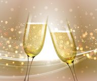 Glasses of champagne on bright background with bokeh effect. Vector illustration. Glasses of champagne on bright gold background with bokeh effect. Vector Stock Photos