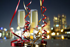 Glasses of champagne for celebrations.  royalty free stock image