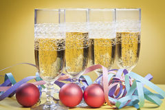 Glasses of champagne at Christmas Stock Images