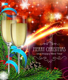 Glasses of champagne on Christmas background Stock Photo