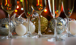 Glasses of champagne and christmas balls Royalty Free Stock Photo