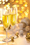 Glasses of Champagne on Christmas Eve Royalty Free Stock Photography