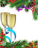 Glasses of champagne and Christmas tree branches Royalty Free Stock Image