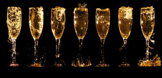 Glasses of champagne collage Stock Photos