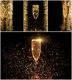 Glasses of champagne collage Stock Images