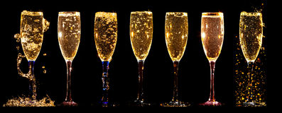 Glasses of champagne collage Royalty Free Stock Image